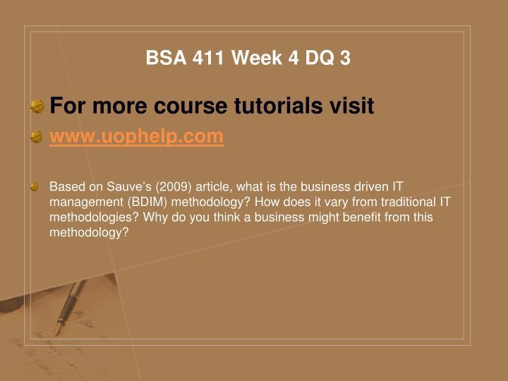 BSA 411 Week 4 DQ 3