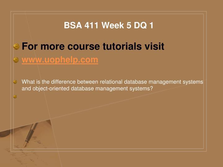 BSA 411 Week 5 DQ 1