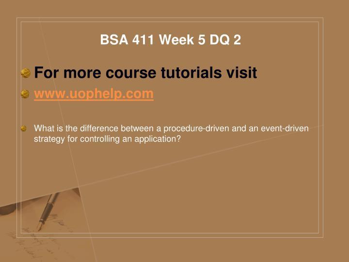 BSA 411 Week 5 DQ 2