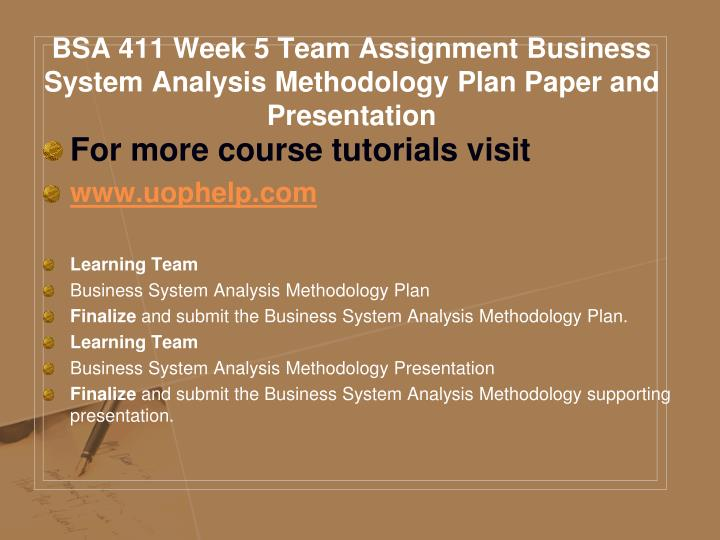 BSA 411 Week 5 Team Assignment Business System Analysis Methodology Plan Paper and Presentation