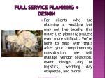 full service planning design