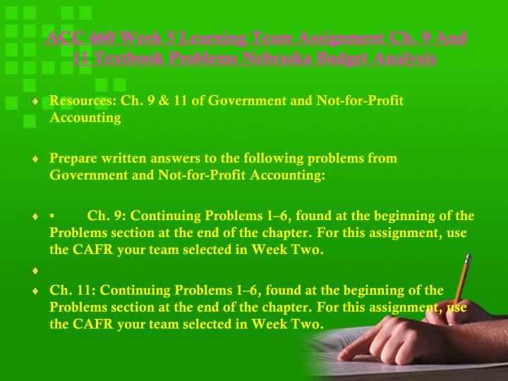 not for profit accounting assignment Acc 460 government and non- profit accounting homework help, assignment, final - summer 2017 best resources for homework and assignment help all tutorials are delivered immediately via e-mail.