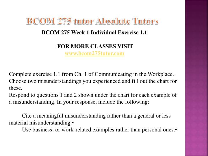 communicating in the workplace bcom 275 Explain how demonstrative communication involves listening bcom 275 week 3 complete exercise 11 from ch 1 of communicating in the workplace.