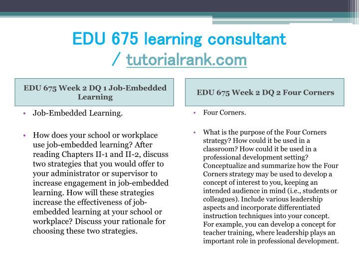 EDU 675 learning consultant