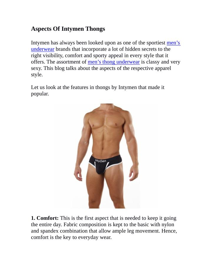 Aspects Of Intymen Thongs