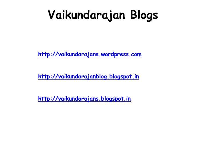 Vaikundarajan Blogs