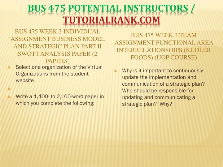 BUS 475 Week 3 Individual Assignment Business Model and Strategic Plan Part II SWOTT Analysis Paper (2 Papers)