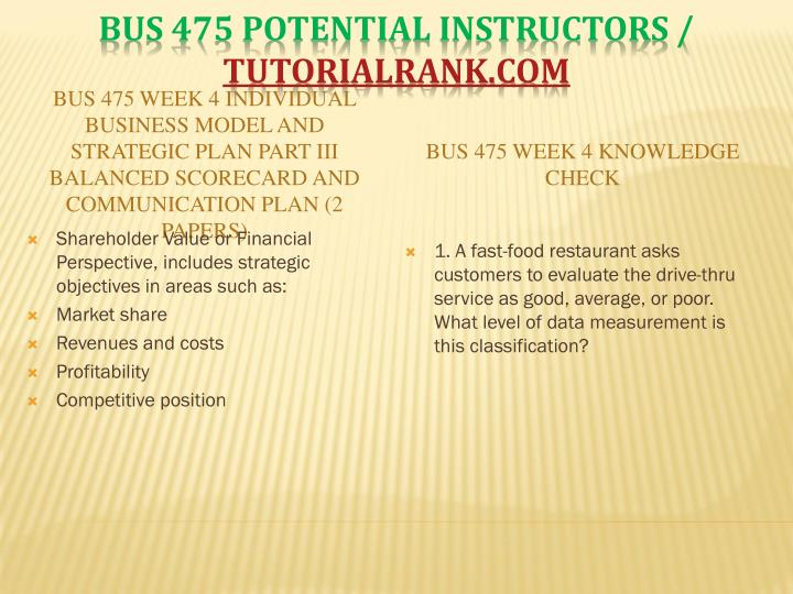 BUS 475 Week 4 Individual Business Model and Strategic Plan Part III Balanced Scorecard and Communication Plan (2 Papers)