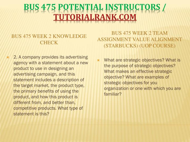 BUS 475 Week 2 Knowledge Check