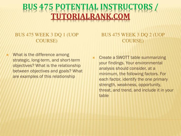 BUS 475 Week 3 DQ 1 (UOP Course)