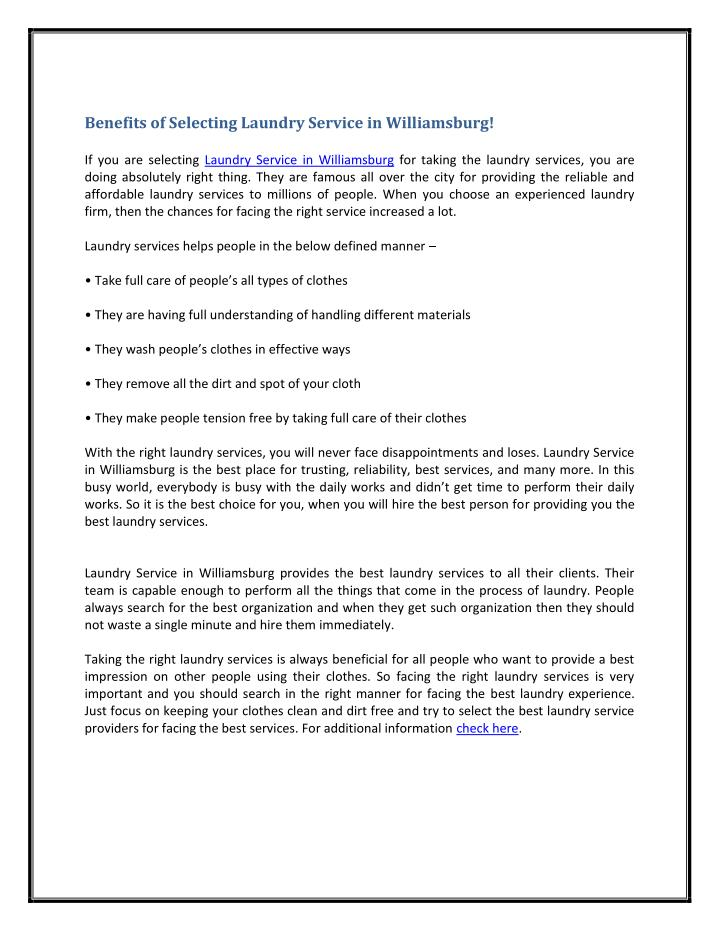 Benefits of Selecting Laundry Service in Williamsburg!
