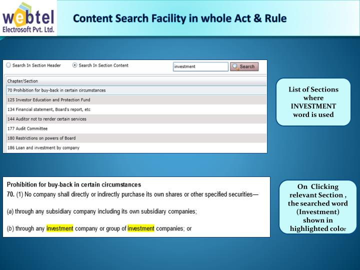 Content Search Facility in whole Act & Rule