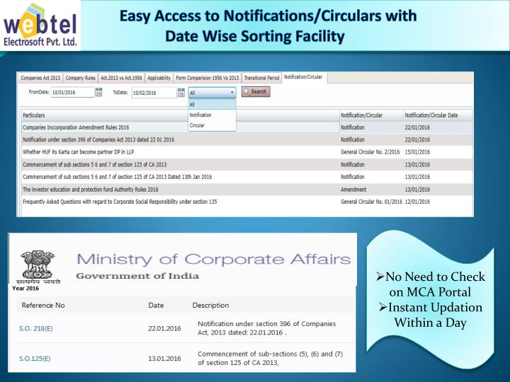 Easy Access to Notifications/Circulars with