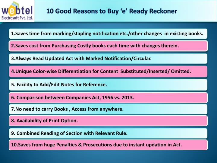 10 Good Reasons to Buy 'e' Ready Reckoner