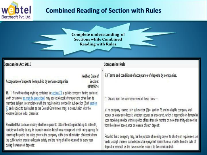 Combined Reading of Section with Rules