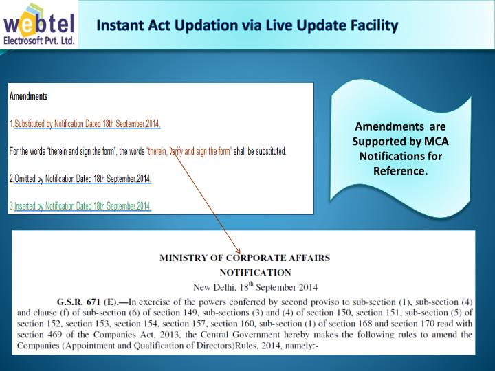 Instant Act Updation via Live Update Facility