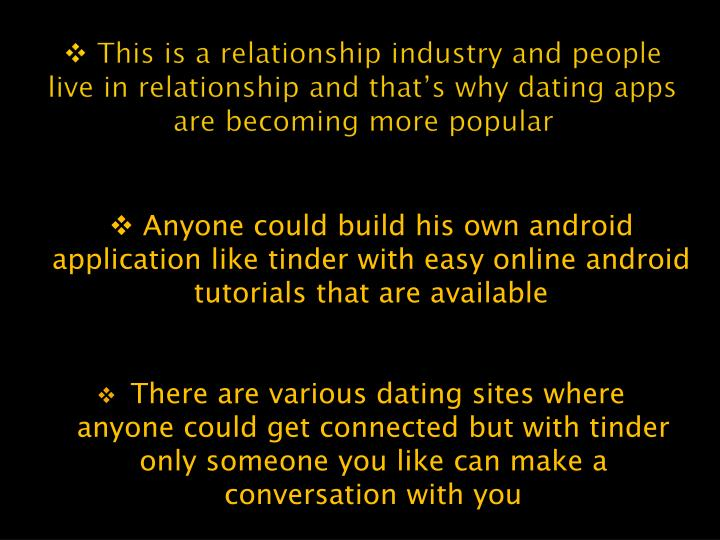 This is a relationship industry and people live in relationship and that's why dating apps are be...