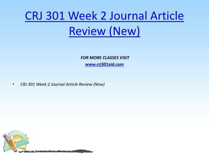 CRJ 301 Week 2 Journal Article Review (New)