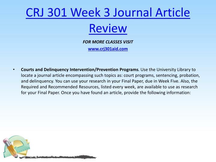 CRJ 301 Week 3 Journal Article Review