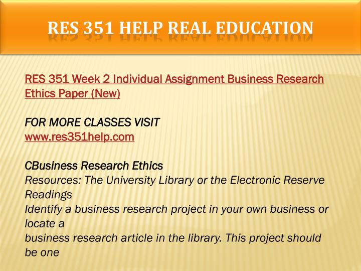RES 351 HELP Real Education