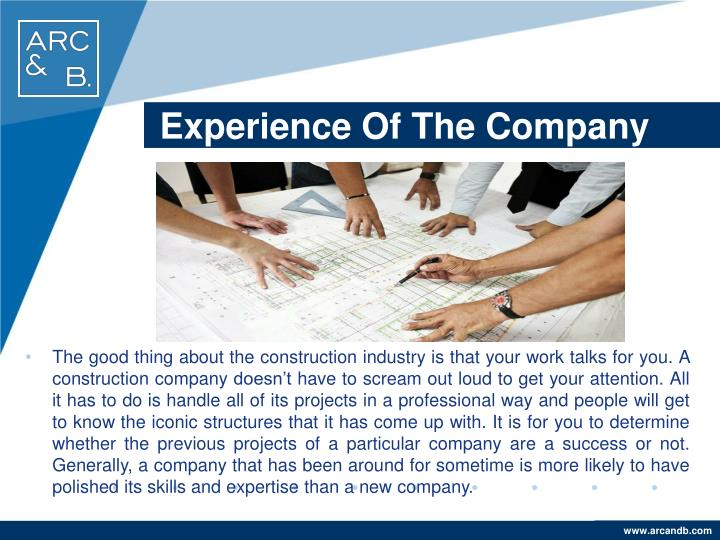 Experience Of The Company