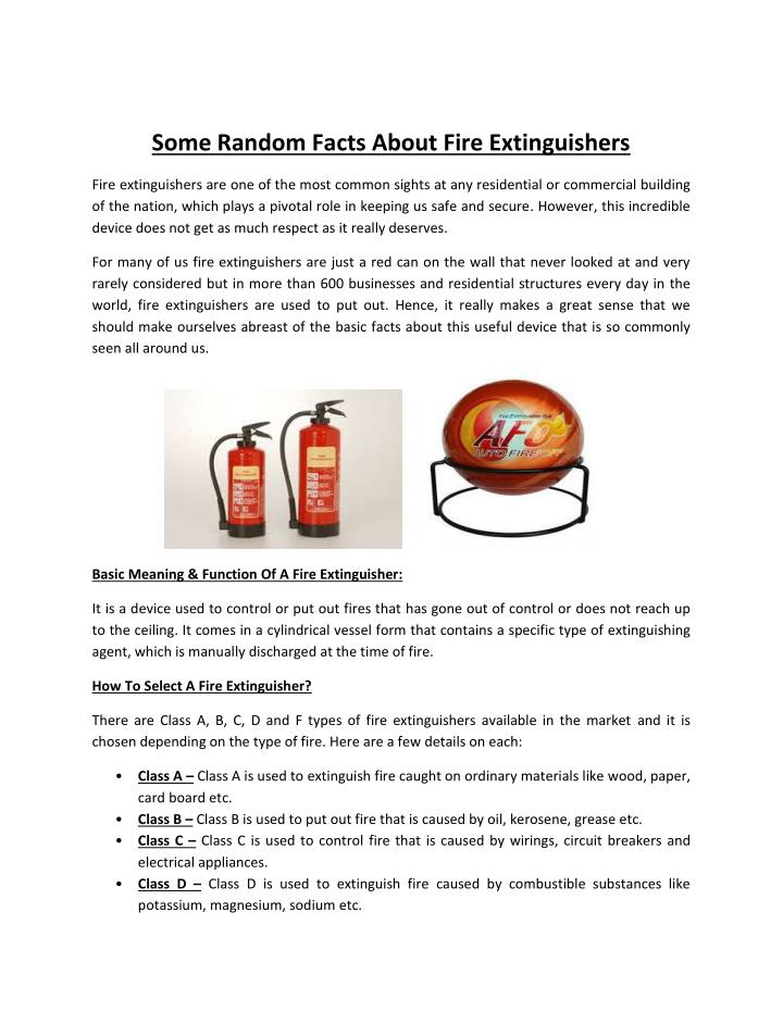 PPT - Some Random Facts About Fire Extinguishers PowerPoint