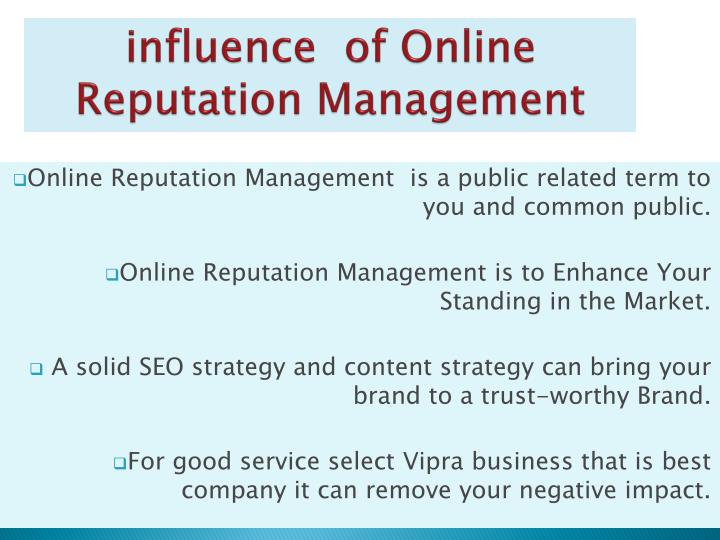 influence of online reputation management n.