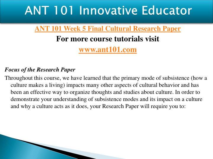 ANT 101 Innovative Educator