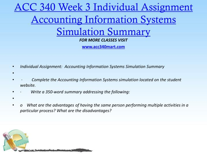 accounting information systems simulation summary