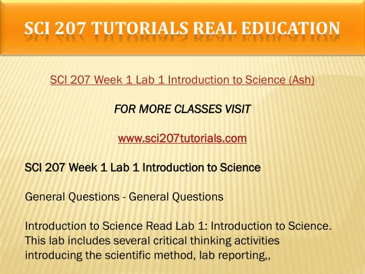 SCI 207 TUTORIALS Real Education