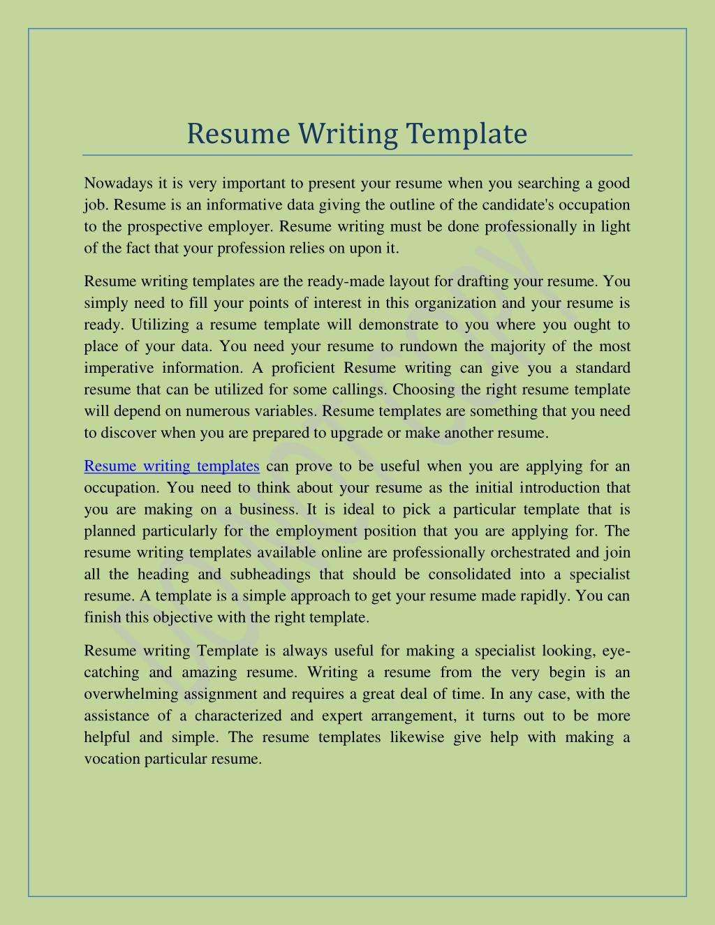 Ppt Resume Writing Templates Resume In Minutes Free Resume