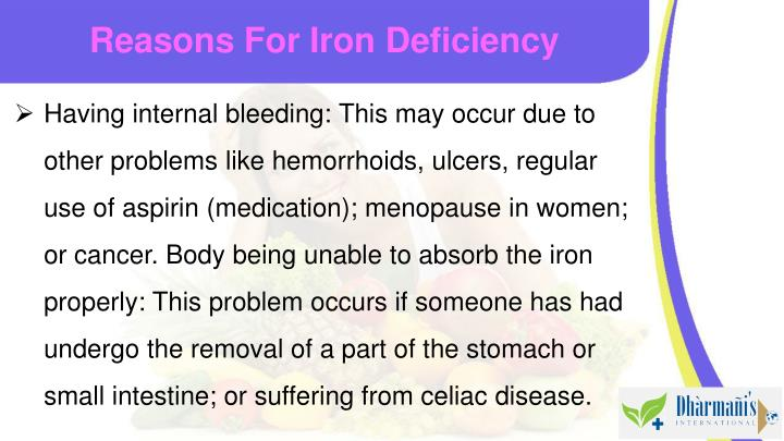 Reasons For Iron Deficiency
