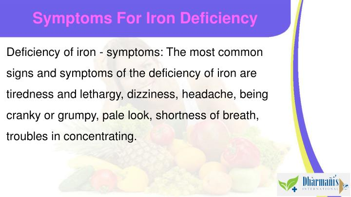 Symptoms For Iron Deficiency