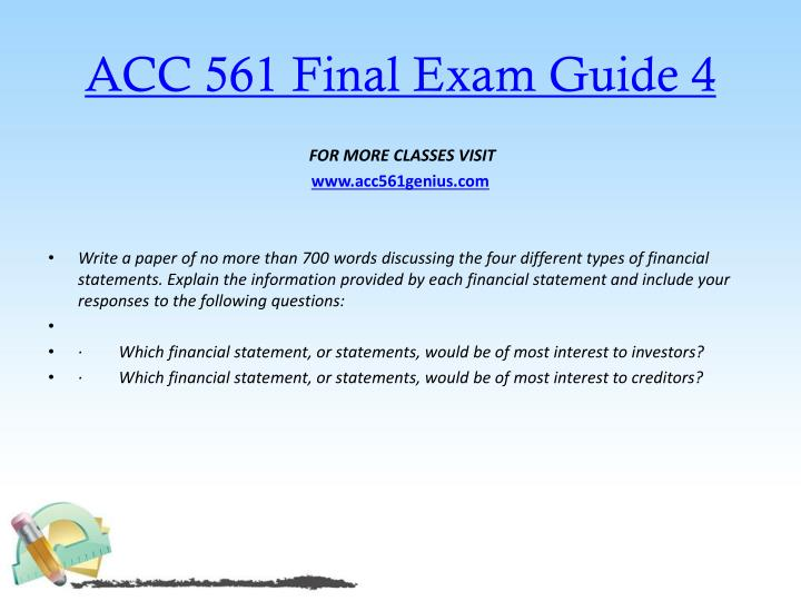 ACC 561 Final Exam Guide 4