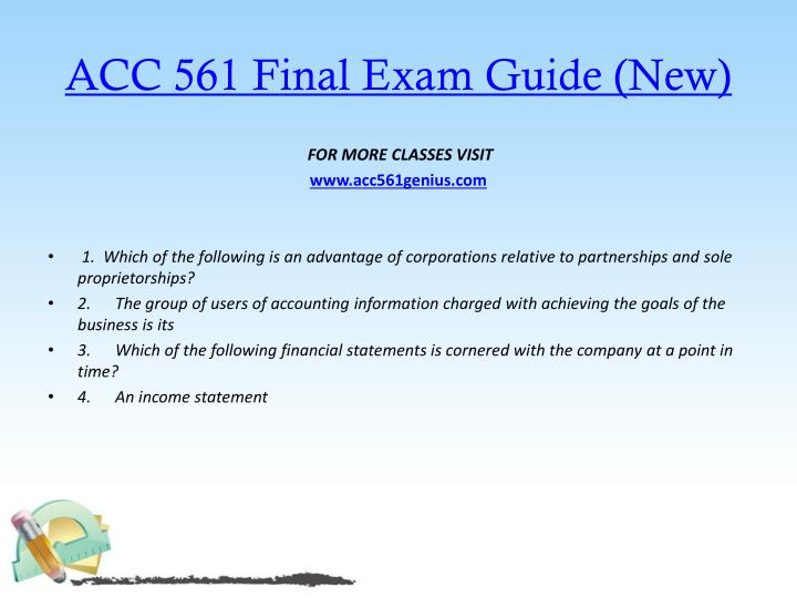 Acc 561 final exam guide new