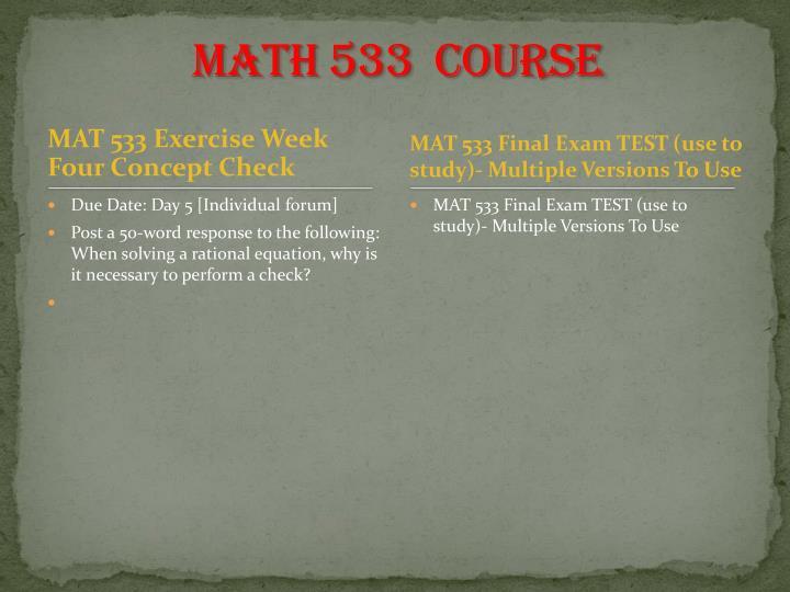 MATH 533  Course