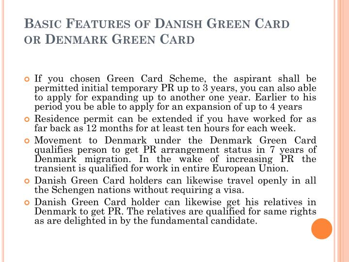 Basic features of danish green card or denmark green card