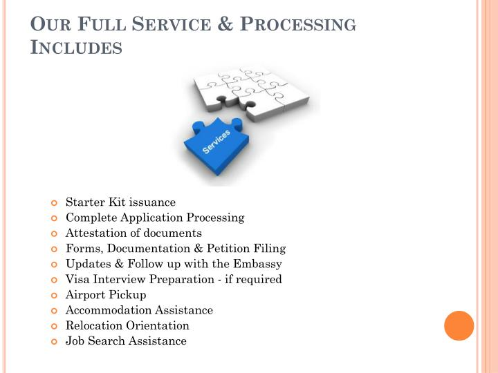 Our Full Service & Processing Includes