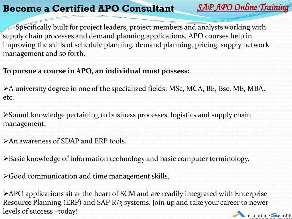 PPT - SAP APO course content from AcuteSoft PowerPoint