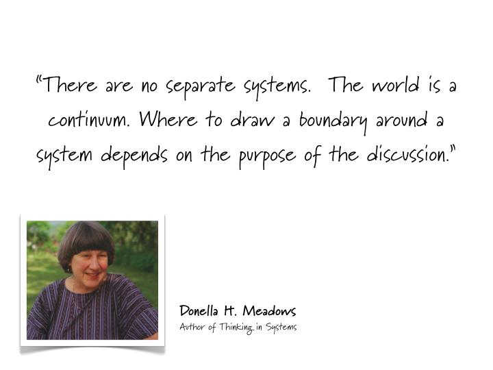 """""""There are no separate systems.  The world is a"""