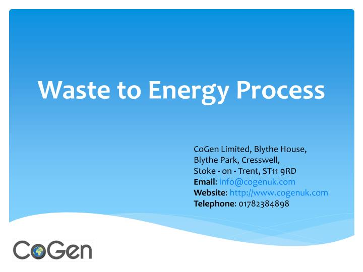 waste to energy process n.