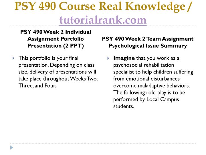 psy 490 portfolio presentation Study flashcards on psy 490 week 2 individual assignment portfolio presentation at cramcom quickly memorize the terms, phrases and much more cramcom makes it easy to get the grade you want.