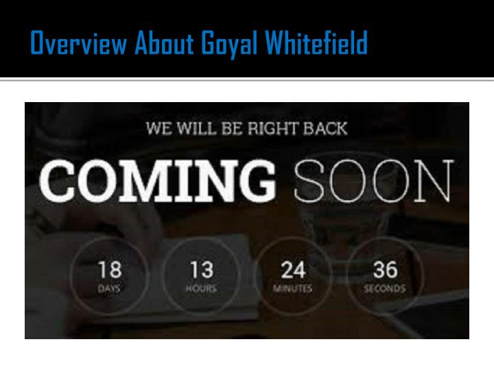 Overview about goyal whitefield