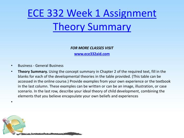 Ece 332 week 1 assignment theory summary