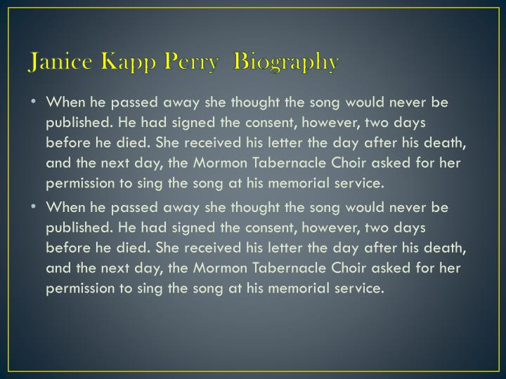 Janice Kapp Perry  Biography