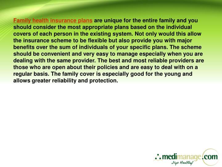 Family health insurance plans
