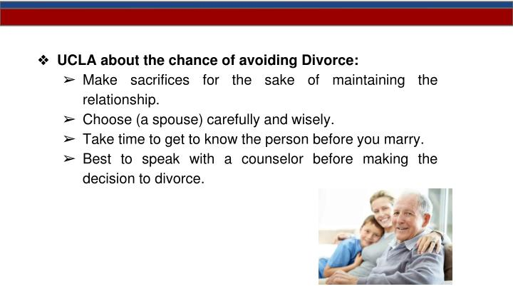 UCLA about the chance of avoiding Divorce: