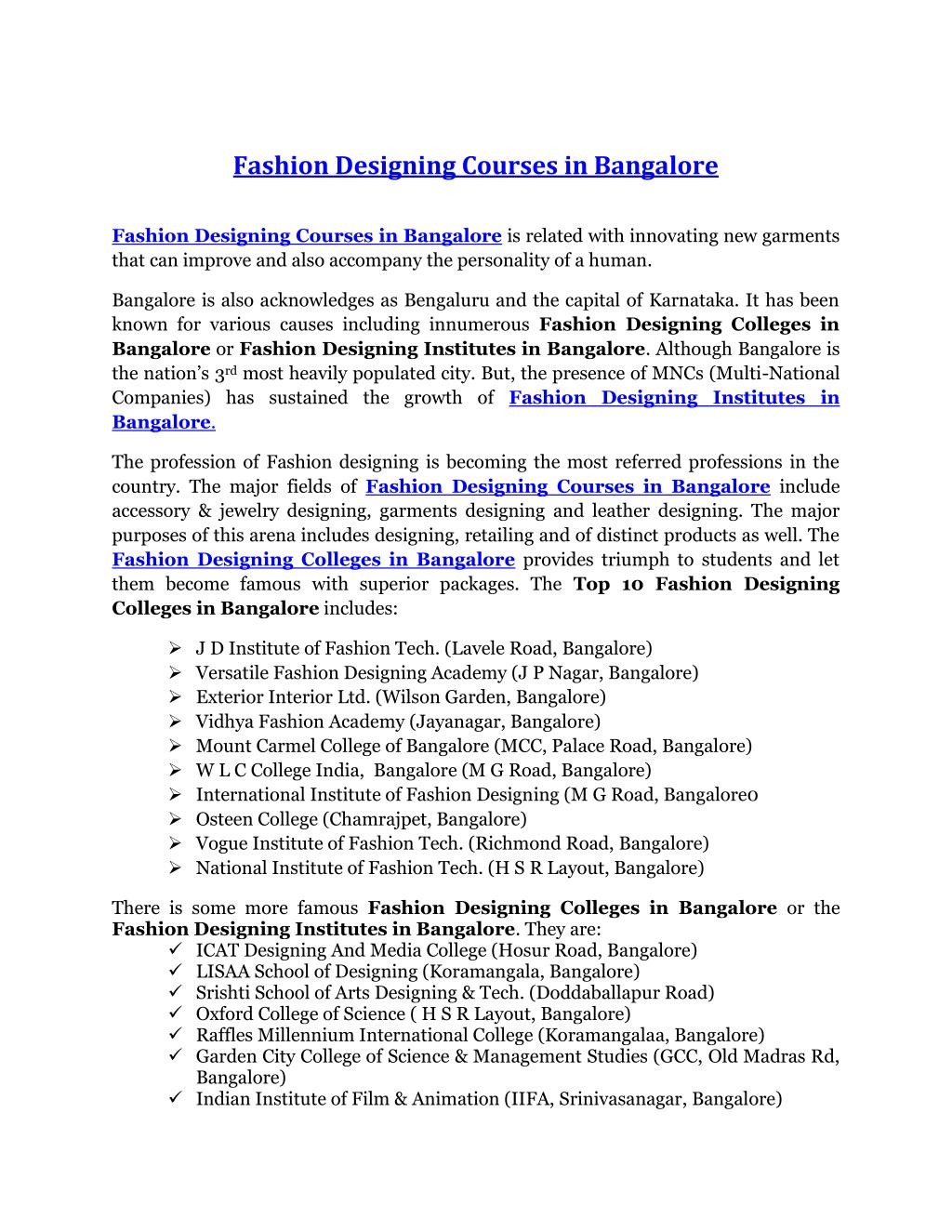 Ppt Fashion Designing Courses In Bangalore Powerpoint Presentation Free Download Id 7320628