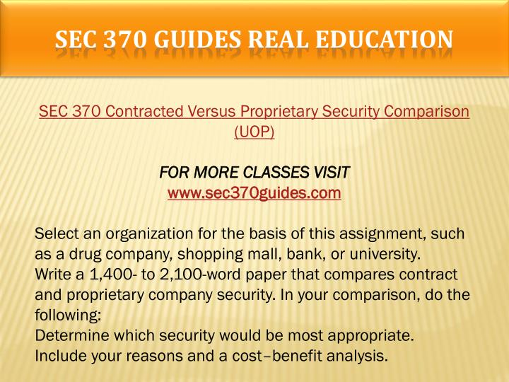 SEC 370 GUIDES Real Education