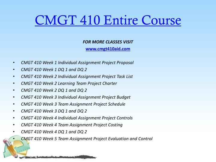 cmgt 410 week 4 learning team project costing